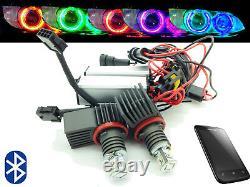 H8 Cree LED Bluetooth Colour Change Angel Eye Halo Rings For BMW E60 E61 07-10