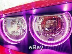 Headlight Retrofit RGB LED Angel Eye Halo Rings For 2008-2014 Dodge Challenger