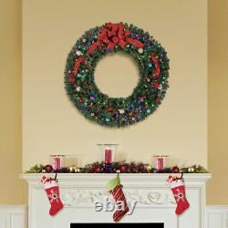Home Heritage 60 Pre-lit Holiday Christmas Wreath with 300 Color Changing LEDs