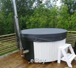 Hot New Wooden Fiberglass Wood Fired Hot Tub With Jacuzzi And Led Systems
