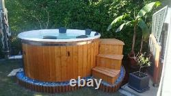 Hot tub DELUXE 316ANSI wood fired heater jacuzzi LED SPA cover