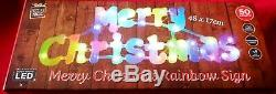 Indoor Outdoor 50LED Orange Colour Merry Christmas RainbowSign Window Decoration