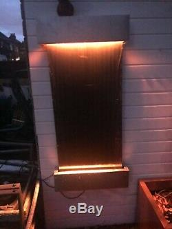 Indoor / outdoor Wall water fall feature With remote LED colour change lights