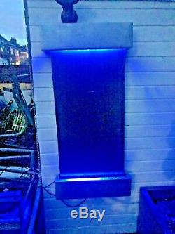 Indoor/outdoor Wall water fall feature With remote LED colour changing lights