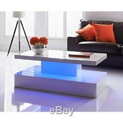 LED Coffee Table In White High Gloss with colour changing