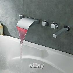 LED Color Changing Wall Mounted Bathtub Faucet Waterfall Shower Mixer Tap Chrome