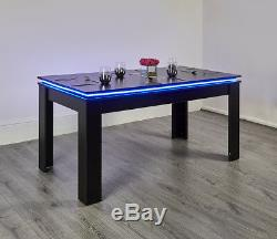 LED Colour Changing Modern Dining Table Kitchen Room 6 Seater Seats White Black