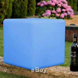 LED Mood Cube Stool, 40cm Light Up Seat Table Furniture by PK Green