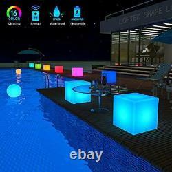 LOFTEK LED Light Cube 20-inch RGB Cube Seats Colors Changing Bar Chairs&Table