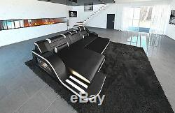 Leather sectional sofa Positano L shape with LED lights and changing colors