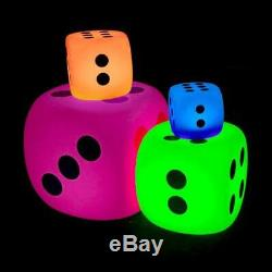 Light Up LED Dice, sensory, colour changing. 4 sizes available