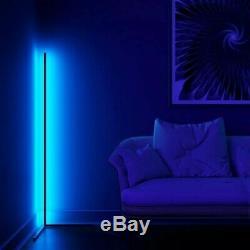 Minimal LED Corner Floor Lamp 16M RGB Colours Black Body Remote
