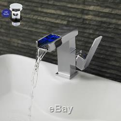 Modern Bathroom Basin Tap Sink Mono Mixer Chrome LED Side Action with Waste