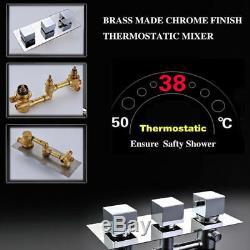 Modern Square 12 Rain Shower Faucet Set Thermostatic Mixer Valve 6 Massage Jets