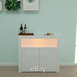 Modern TV Cabinet Stand Unit High Gloss Doors LED Lights Drawers Stock New