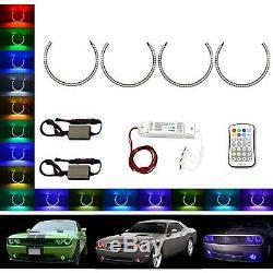 Multi-Color Changing LED RGB Headlamp Halo Ring Set For 2008-14 Dodge Challenger