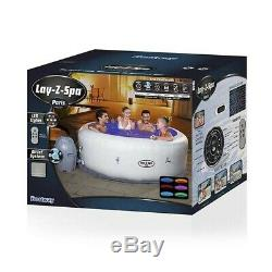 NEW Lay-Z-Spa Paris Inflatable Hot Tub + 7 colour changing LED lights