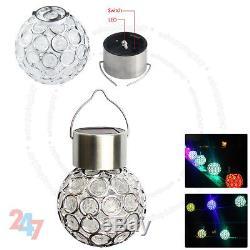 New 7 Color Changing LED Solar Garden Hanging Light Crackle Glass Lantern Ball