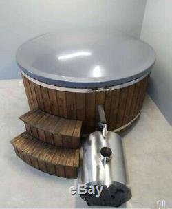 New Wooden Fiberglass External Wood Fired Hot Tub With Jacuzzi And Led Systems