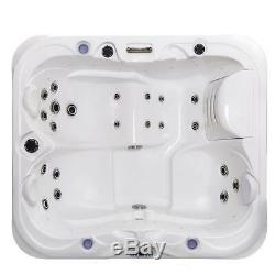 Outdoor whirlpool With Heater LED Ozone Hot Tub Spa For 3 Persons 195x170 CM Wpc