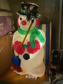 Premier Fibre Optic Snowman With Hat & Scarf lights up and changes colour