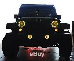 RGB LED Angel Eyes Halo Rings For Jeep Wrangler JK Headlight Foglamps with WIFI