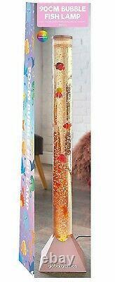 Rose Gold Large 90cm Colour Changing LED Sensory Water Bubble Floor Lamp + Fish