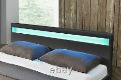 SMALL DOUBLE BED GREY FAUX LEATHER 4FT LED COLOUR CHANGING Free UK Delivery