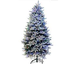 Sb10 7ft Santas Best Snow Pre Lit Led Lights Christmas Tree Colour Changing