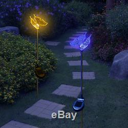Set of 2 Solar Powered Butterfly Yard Garden Stake Color Changing LED Light