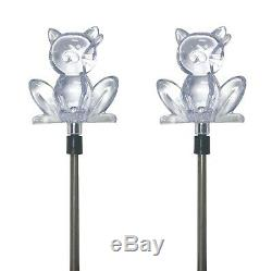 Set of 2 Solar Powered Cat Yard Garden Stake Color Changing LED Light