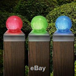 Solar Led Crackle Glass Ball Post Garden Deck Cap Light Square Outdoor Lights