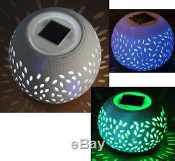 Solar Powered Table Light Led Garden Ornament Colour Changing Ceramic Lamp New