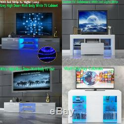 TV Unit Cabinet Stand Sideboard Cupboard Matt Body & High Gloss Doors LED Lights