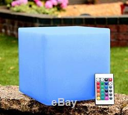 Waterproof Garden Light Up LED RGB Color Changing Cube Stool Outdoo Landscape