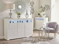 White Gloss Top Doors Sideboard Modern Cabinet Cupboard Buffet Gloss Unit Lily