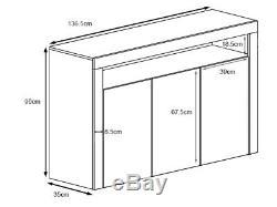 White High Gloss Doors Top White Matt Cabinet Cupboard Sideboard Blue LED Light