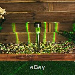 12 Changement De Couleur Led S / Acier Solaire Jardin Patio Poste Extérieur Lumières Lanternes