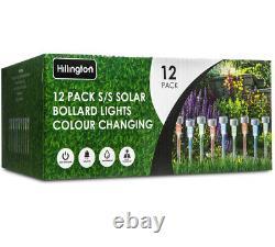 12 X Changement De Couleur Acier D'acier Solaire Led Garden Patio Post Lumières D'extérieur
