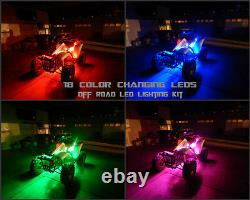 18 Changer La Couleur Led Pioneer 1000 Atv Quad Utv 4wheeler 16pc Led Pod Light Kit