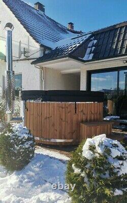 220cm King Size Thermowood Fibreglass Hot Tub 316ansi Chauffage + Jacuzzi + Led