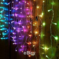 2 Jeux De Twinkly 190 Led Icicle Lumières, Rouge / Vert / Bleu, L21.5m