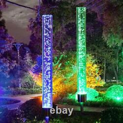 2 Pcs Solar Powered Color Changing Led Stake Light Garden Path Yard Decor Lamp