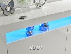 2 X Blanc Brillant Sideboard Cabinet Placard Stockage Bleu Led Lumière Lily