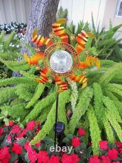 2 X Solar Powered Metal Sunflower Glass Ball Garden Stake Couleur Changer La Lumière
