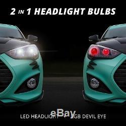 2ème Génération H7 De Bright 6000k Phares Led Ampoules + Changement De Couleur Des Yeux Diable