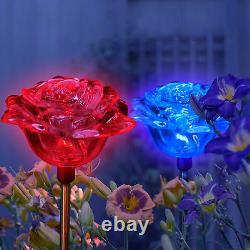 2x Solaire Alimenté Rose Flower Landscape Garden Stake Couleur Changeant La Lumière Led