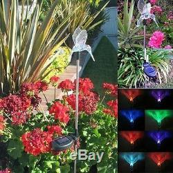 2x Solaire Hummingbird Paysage Jardin Stake Changement De Couleur Led