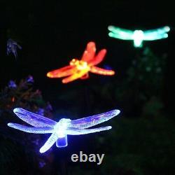 2x Solar Powered Dragonfly Paysage Garden Stake Couleur Changer La Lumière Led