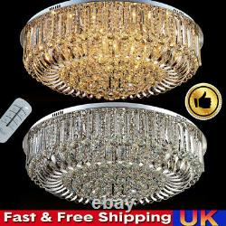 3 Couleurs Genuine Crystal Ceiling Light +bluetooth Speaker Modern Lamp Remote Uk